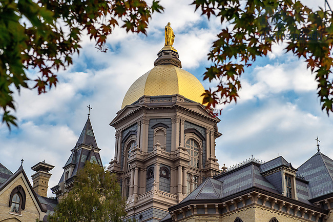 October 4, 2016; The Golden Dome atop the Main Building at sunrise. (Photo by Barbara Johnston/University of Notre Dame)