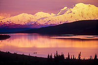 Recreational canoers enjoy the calm water of Wonder lake at sunset with Mt Denali on the horizon, Denali National Park, Alaska
