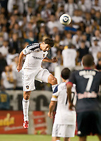 CARSON, CA – May 7, 2011: LA Galaxy defender Omar Gonazalez (4) during the match between LA Galaxy and New York Red Bull at the Home Depot Center, May 7, 2011 in Carson, California. Final score LA Galaxy 1, New York Red Bull 1.