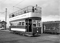 Howth Tram Special for Sunday Express.20/12/1956..Colloquially known as the Howth Tram, this tramway operated from June 1901 to 31st of May 1959 and served Howth Head, near Dublin, Ireland. The service was run by the Great Northern Railway (Ireland) (GNR(I)), which viewed it as a way to bring more customers to its railway stations at Sutton and Howth.