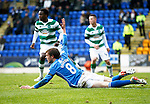 St Johnstone v Celtic...13.12.15  SPFL  McDiarmid Park, Perth<br /> Murray Davidson is sent flying by Jozo Simunovic but no penalty was awarded<br /> Picture by Graeme Hart.<br /> Copyright Perthshire Picture Agency<br /> Tel: 01738 623350  Mobile: 07990 594431