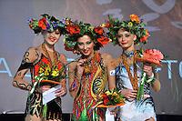 "(L-R) Winners in individual seniors All Around are: Alina Maksymenko  of Ukraine (silver), Daria Kondakova (gold) and Yana Lukonina of Russia (bronze) at 2011 World Cup Kiev, ""Deriugina Cup"" in Kiev, Ukraine on May 07, 2011."