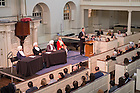 Nov. 19, 2015; Notre Dame Law School professor A.J. Bellia gives introductory remarks during the Notre Dame Law School and Boston College Law School commemoration of the closing arguments from the trial of a British captain involved in the 1770 Boston Massacre, held in the Old South Meeting House in Boston. (Photo by Matt Cashore/University of Notre Dame)