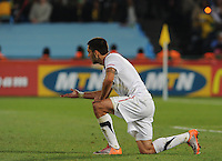 Clint Dempsey shows the referee blood from the elbow in the mouth he received on a play where there was no foul whistled. The United States won Group C of the 2010 FIFA World Cup in dramatic fashion, 1-0, over Algeria in Pretoria's Loftus Versfeld Stadium, Wednesday, June 23rd..