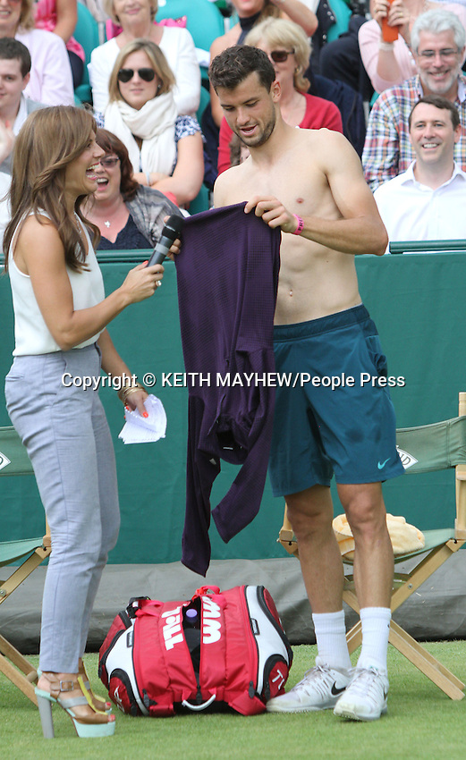Grigor Dmitrov (Bulgaria) interviewed by Zoe Hardman at The Boodles Tennis Challenge held at Stoke Park, Buckinghamshire, UK - June 21st 2013<br /> <br /> Photo by Keith Mayhew