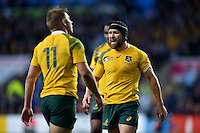 Matt Giteau of Australia rallies his team-mates during a break in play. Rugby World Cup Semi Final between Argentina v Australia on October 25, 2015 at Twickenham Stadium in London, England. Photo by: Patrick Khachfe / Onside Images
