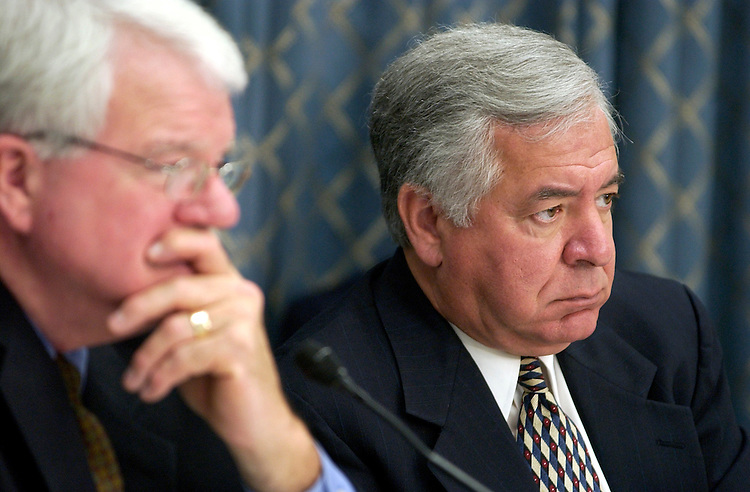Reps. George Miller, D-Calif., left, and Nick Rahall, D-W.V., listen to families of miners killed and miners that suffered injuries in mine accidents were on had to testify at a House Democratic Forum on Mine Safety.