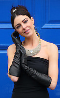 ****NO REPRODUCTION FEE PIC****28/02/12 29th February is the one day in every four years when a woman can propose to a man...If the man refuses the proposal, tradition has it, that the man must give the woman a pair of leather gloves..Paula Rowan Gloves held a photocall this morning at Stephen's Green to publicise this once in four years tradition...Model Ruth Griffin was dressed as Audrey Hepburn this morning and wearing elbow length leather Gloves to publicise this leap year event...Picture Colin Keegan, Collins, Dublin. ***NO REPRODUCTION FEE***
