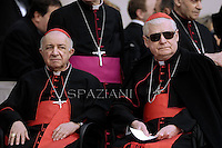 Cardinal Tettamanzi e Cardinal Scola.Pope Francis during his weekly general audience in St. Peter square at the Vatican, Wednesday. 3 April 2013