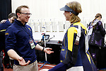COLUMBUS, OH - MARCH 11:  Milica Babic, right, of West Virginia University, and coach Mike Bamsey celebrate her win in the Division I Rifle Championships held at The French Field House on the Ohio State University campus on March 11, 2017 in Columbus, Ohio. (Photo by Jay LaPrete/NCAA Photos via Getty Images)