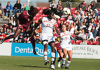 COLLEGE PARK, MD - OCTOBER 21, 2012:  Shade Pratt (22) of the University of Maryland is beaten to a header by Jessica Price (6) of Florida State during an ACC women's match at Ludwig Field in College Park, MD. on October 21. Florida won 1-0.