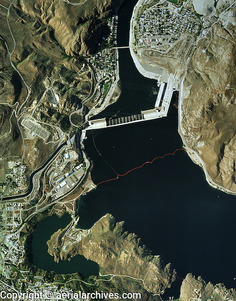 aerial map Grand Cooley Dam Columbia River Washington USA