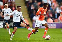 Luton Town's Lawson D'Ath challenges Blackpool's Nathan Delfouneso<br /> <br /> Photographer Richard Martin-Roberts/CameraSport<br /> <br /> The EFL Sky Bet League Two Play-Off Semi Final First Leg - Blackpool v Luton Town - Sunday May 14th 2017 - Bloomfield Road - Blackpool<br /> <br /> World Copyright &copy; 2017 CameraSport. All rights reserved. 43 Linden Ave. Countesthorpe. Leicester. England. LE8 5PG - Tel: +44 (0) 116 277 4147 - admin@camerasport.com - www.camerasport.com