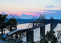Sunset overlooking the Mississippi into Louisiana in downtown Vicksburg Mississippi.