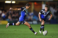Olly Barkley looks to kick for the posts. Aviva Premiership match, between Bath Rugby and Northampton Saints on September 14, 2012 at the Recreation Ground in Bath, England. Photo by: Patrick Khachfe / Onside Images