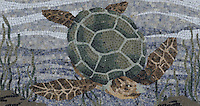 18 x 24 inch Sea Turtle panel in Bardiglio, Blue Macauba, Montevideo, Nero Marquina, Verde Luna, Verde Alpi, Kay's Green, Emperador Dark, Emperador Light, Blue Bahia, Travertine Noce polished