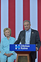 MIAMI, FL - JULY 23: Democratic Presumptive Nominee for President former Secretary of State Hillary Clinton speaks at a rally with the Democratic candidate for Vice President, U.S. Senator Tim Kaine (D-VA) sduring a campaign rally with Florida voters at the Florida International University Panther Arena, Florida on Friday, July 23, 2016. With two days to go until the Democratic National Convention, Hillary Clinton is campaigning in Florida.  Credit: MPI10 / MediaPunch