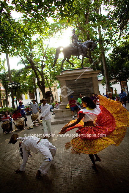 Dancers in Plaza de Bolivar in Cartagena, Colombia...Photo by Robert Caplin.