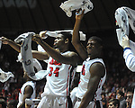"Ole Miss' Aaron Jones (34) and Ole Miss' Martavious Newby (1) cheer vs. Missouri at the C.M. ""Tad"" Smith Coliseum on Saturday, January 12, 2013. Ole Miss defeated #10 ranked Missouri 64-49."
