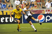 Abby Wambach has a shot on goal...USWNT tied Sweden 1-1 at Morison Stadium, Nebraska.