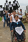 A group of women walking down the truth of the National Movement of Victims of State Crimes, MOVICE, commemorate this April 9 as the Day of Memory and Solidarity with Victims of state crimes, this time of vital importance to the country because it was from when triggered, significantly, the political conflict, social and armed, that today, after decades, continues in the form of persecution, threats and harassment against leaders and land claimants human rights defenders. In the district there are 13 mass graves containing more than 1000 dead buried in a dump that works in the area. The close calls that dump MOVISE and declare the area as a cemetery. In Colombia, this time away from a transitional or post. More than 60 leaders killed lands (at least 26 of these victims killed between 2010 and 2011), the reengineering of paramilitarism in over 400 municipalities, more than 1,400 displaced people killed since 2007, a development model based on dispossession and displacement. In Medellín, Colombia. 09/04/2012. Photo by Fredy Amariles/VIEWpress.