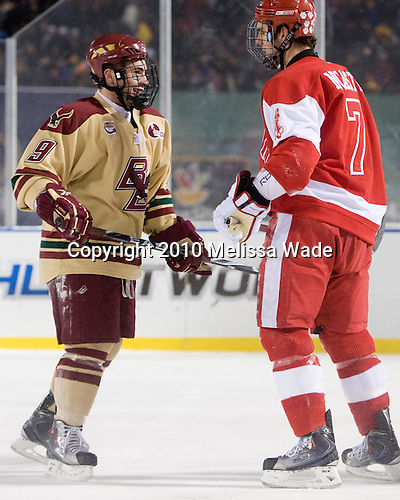 Barry Almeida (BC - 9), Max Nicastro (BU - 7) - The Boston University Terriers defeated the Boston College Eagles 3-2 on Friday, January 8, 2010, at Fenway Park in Boston, Massachusetts, as part of the Sun Life Frozen Fenway doubleheader.