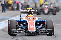 March 19, 2016: Rio Haryanto (IDN) #88 from the Manor Racing leaving the pits for qualifying at the 2016 Australian Formula One Grand Prix at Albert Park, Melbourne, Australia. Photo Sydney Low