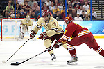 07 APR 2012:  Chris Kreider (19) of Boston College battles for the puck against Travis Ouellette (9) of Ferris State University during the Division I Men's Ice Hockey Championship held at the Tampa Bay Times Forum in Tampa, FL.  Boston College defeated Ferris State 4-1 to win the national title.  Matt Marriott/NCAA Photos