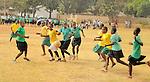 Girls playing soccer in Likoni, Kenya.