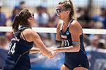 GULF SHORES, AL - MAY 07: Anika Wilson (14) and Deahna Kraft (31) of Pepperdine University celebrate winning a point during the Division I Women's Beach Volleyball Championship held at Gulf Place on May 7, 2017 in Gulf Shores, Alabama.The University of Southern California defeated Pepperdine 3-2 to claim the national championship. (Photo by Stephen Nowland/NCAA Photos via Getty Images)