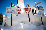 Signs advertise ski rentals and lift tickets in Soda Springs, Calif., January 6, 2011. California has already received 80% of its normal annual precipitation in the first two months of a rainy season that lasts another four months..CREDIT: Max Whittaker for The Wall Street Journal.CALWATER