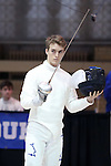 11 February 2017: Duke's Aidan McGinnis prepares for his Epee match. The Duke University Blue Devils hosted the Boston College Eagles at Card Gym in Durham, North Carolina in a 2017 College Men's Fencing match. Duke won the dual match 18-9 overall, 9-0 Foil, and 6-3 Saber. Boston College won Epee 6-3.
