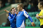Hibs v St Johnstone.....11.02.13      SPL.Rowan Vine celebrates his goal with Paddy Cregg.Picture by Graeme Hart..Copyright Perthshire Picture Agency.Tel: 01738 623350  Mobile: 07990 594431