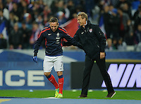 Jurgen Klinsmann, coach of team USA, hugs his former player Franck Ribery of team France prior to the friendly match France against USA at the Stade de France in Paris, France on November 11th, 2011.
