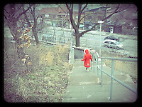 She had this great red coat and wore it for two winters. Armed with only a smart phone I captured these fleeting moments.