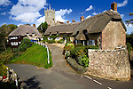 Church, Thatched, Cottages, Godshill, Isle of Wight, England, UK,