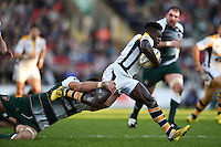 Christian Wade of Wasps takes on the Leicester Tigers defence. Aviva Premiership match, between Leicester Tigers and Wasps on November 1, 2015 at Welford Road in Leicester, England. Photo by: Patrick Khachfe / Onside Images