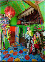 BNPS.co.uk (01202 558833)<br /> Pic: PhilYeomans/BNPS<br /> <br /> Artist Mary Rose Young in her dressing room.<br /> <br /> Britain's wackiest property has come on the market...And the estate agents mantra of paint everything magnolia has definately not been applied.<br /> <br /> It may look like an idyllic cottage in the Forest of Dean from the outside but ceramic artist Mary Rose Young's unique taste has transformed the interior into what looks like something from Alice in Wonderland.<br /> <br /> The three-bedroomed house is decorated from head to toe in crazy colours, clashing patterns, and enormous murals,<br /> each room is covered in the garish designs, including the bathroom, where even the sink and toilet have been adorned in bright tiles.<br /> <br /> Estate agents Bidmead Cook now have the tricky task of showing prospective punters round the &pound;500,000 property.