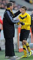 Fussball, 2. Bundesliga, Saison 2011/12, SG Dynamo Dresden - FC Energie Cottbus, Sonntag (11.12.11), gluecksgas Stadion, Dresden. Dresdens Trainer Ralf Loose (li.) und Zlatko Dedic.