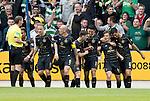 St Johnstone v Celtic&hellip;20.08.16..  McDiarmid Park  SPFL<br />James Forrest celebrates his goal<br />Picture by Graeme Hart.<br />Copyright Perthshire Picture Agency<br />Tel: 01738 623350  Mobile: 07990 594431