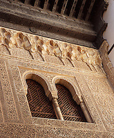 Detail of Jalousie and Cornice, the courtyard of the Mexuar, The Mexuar Palace, 14th century, under the reign of Isma?il I, substantial alterations during the reign of Yusuf I (1333 ? 1354) and of his son Muhammad V (1354 ? 1359, 1362 ? 1391), The Alhambra, Granada, Andalusia, Spain. Picture by Manuel Cohen