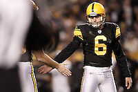 PITTSBURGH, PA - NOVEMBER 06:  Shaun Suisham #6 of the Pittsburgh Steelers is congratulated by teammates after kicking a field goal against  the Baltimore Ravens during the game on November 6, 2011 at Heinz Field in Pittsburgh, Pennsylvania.  (Photo by Jared Wickerham/Getty Images)