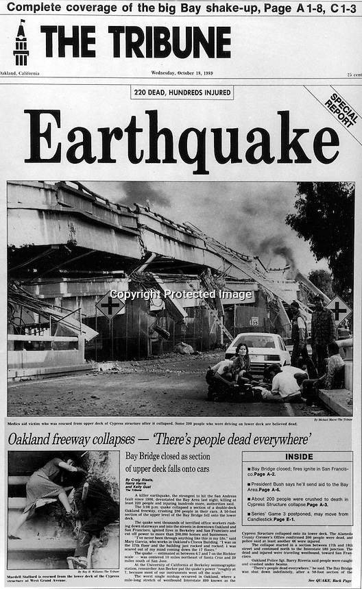Front Page of the Oakland (Cal) Tribune, Wed,October 18, 1989 the dayafter the huge Loa Prieta earthauake to hit the San Francisco Bay Area.<br />