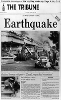 Front Page of the Oakland (Cal) Tribune, Wed,October 18, 1989 the dayafter the huge Loa Prieta earthauake to hit the San Francisco Bay Area.<br /> The photography staff at the Tribune won the Pulitzer Prize for its photo coverage of the quake.
