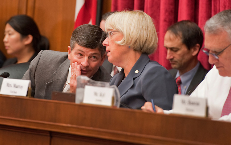 "UNITED STATES - SEPTEMBER 22:  Rep. Jeb Hensarling, R-Texas, and Sen. Patty Murray, D-Wash., Co-Chairs of the Joint Deficit Reduction Committee, confer during testimony by Thomas Barthold, chief of staff of the Joint Committee on Taxation, during a hearing entitled ""Overview: Revenue Options and Reforming the Tax Code,"" in Rayburn Building.  (Photo By Tom Williams/Roll Call)"