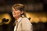 Alaskan governor Sarah Palin accepts the republican nomination for vice-president in Saint Paul, Minnesota Wednesday night. September 3, 2008.