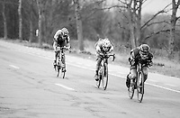 Stefan K&uuml;ng (SUI/BMC), Zdenek Stybar (CZE/QuickStep) &amp; Tiesj Benoot (BEL/Lotto-Soudal) descending the Nieuwe Kwaremont at high speeds<br /> <br /> 69th Kuurne-Brussel-Kuurne 2017 (1.HC)