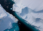 Space between two icebergs, Sermilik Fjord, East Greenland, from a Greenpeace helicopter