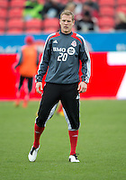 21 April 2012: Toronto FC defender Ty Harden #20 in action during the warm-up in a game between the Chicago Fire and Toronto FC at BMO Field in Toronto..The Chicago Fire won 3-2....