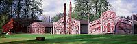 Ksan Historical Village and Museum in Hazelton, Northern BC, British Columbia, Canada - a Replicated Gitxsan (Gitksan aka Tsimshian) First Nations Native Indian Village, Totem Poles and Tribal Plank Houses